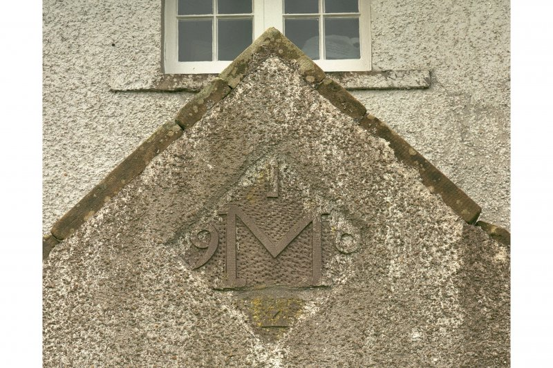 Detail of datestone on entrance porch on N side.