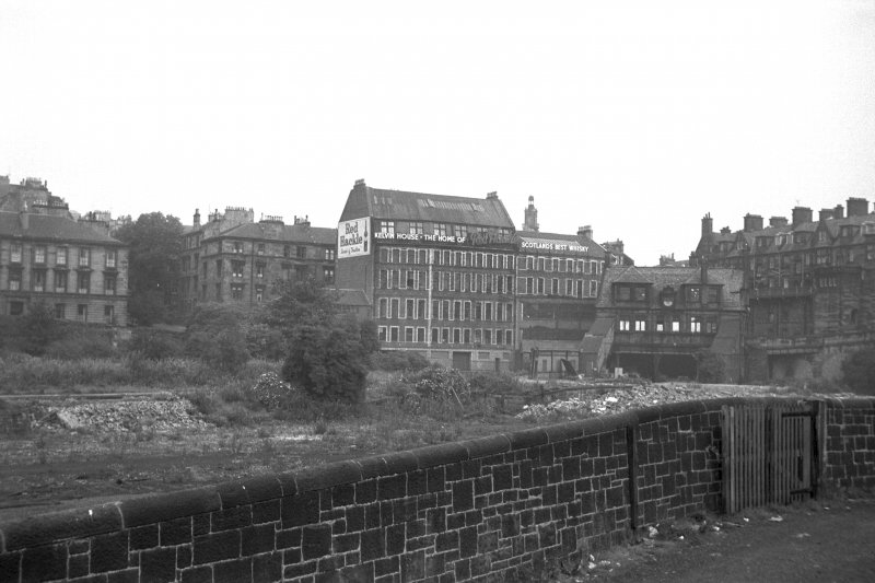 View from SE showing SSE front of offices of Kelvinbridge Station with warehouse and workshops in background
