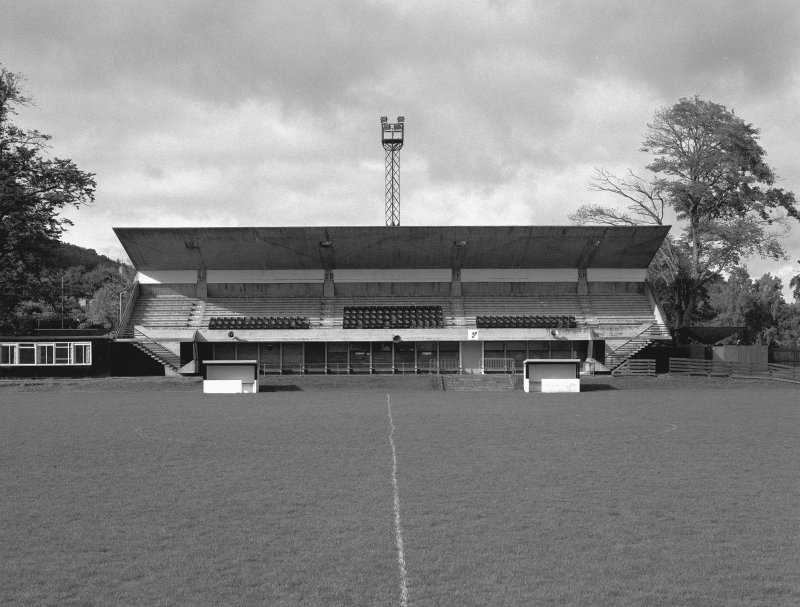 Gala Fairydean Football Club, Galashiels, view of W stand from E.