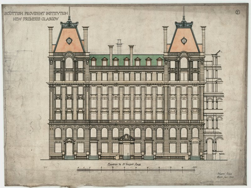 Elevation to St Vincent Place. Titled: 'Scottish Provident Institution. New Premises Glasgow'.