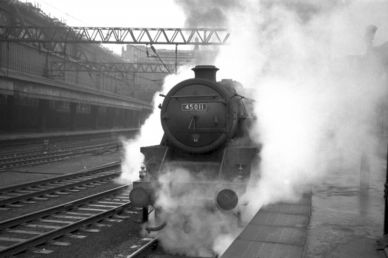 View showing steam train at Central Station, Glasgow.