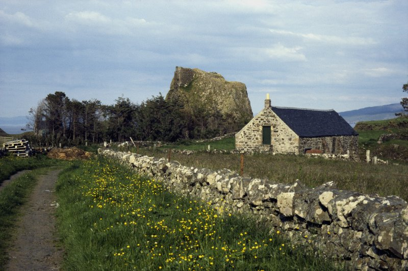 Scanned image of Canna. View of Coroghon Barn (An Coroghan) and Castle.