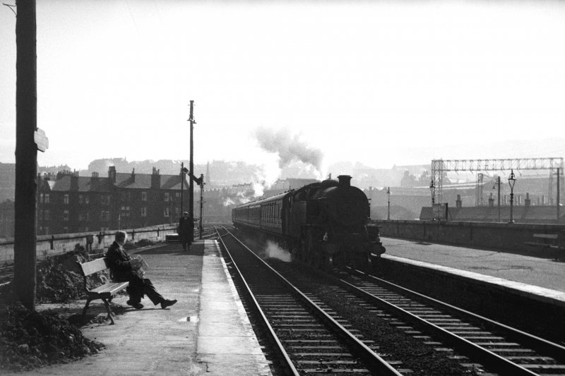 General view showing train at Greenock Central Station, Inverclyde.