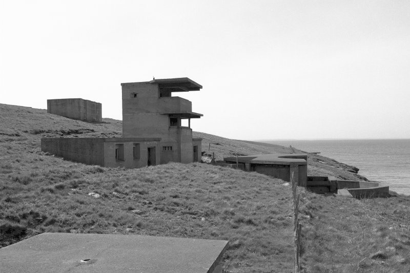 Scanned image of Battery Observation posts (towers) for  W.W.2 twin 6-pounder gun emplacements, general view from North