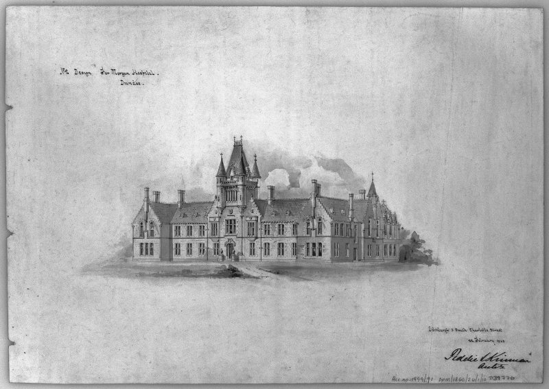 Drawing showing perspective elevation of Morgan Academy.