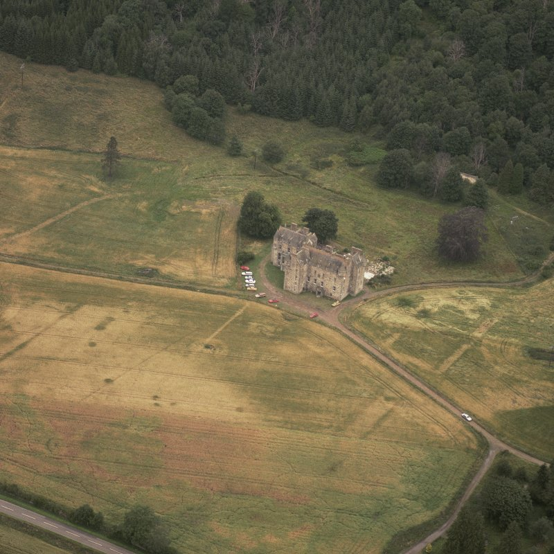 Aerial view of Castle Menzies showing the cropmarks of its former garden.