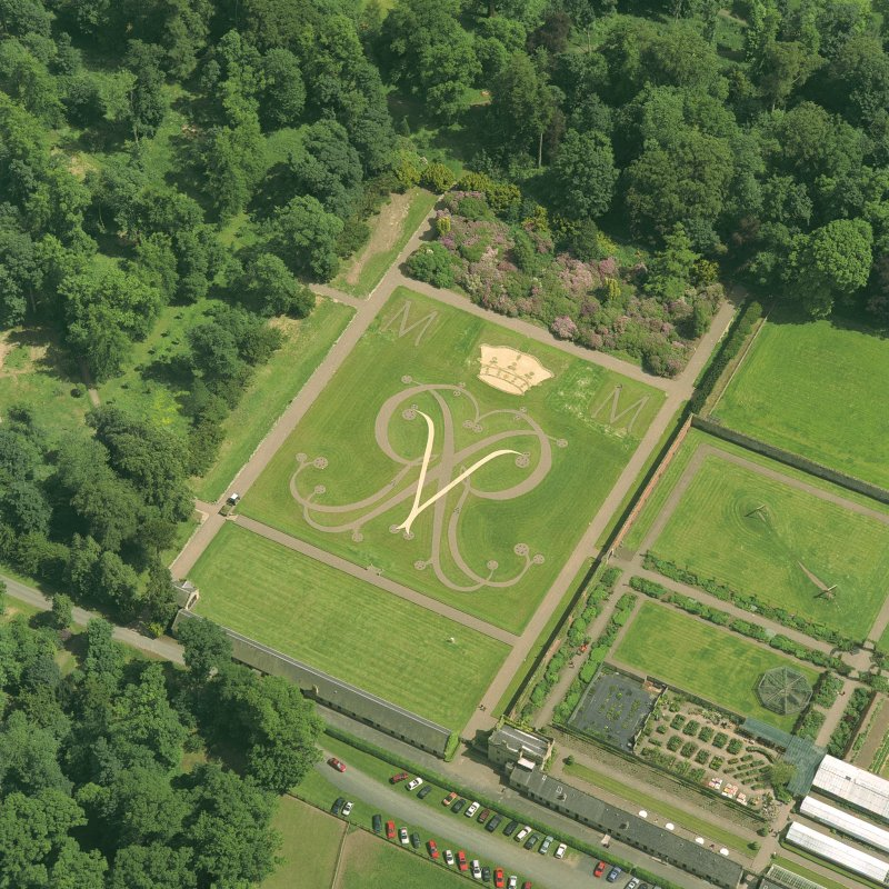 Oblique aerial view of the garden.