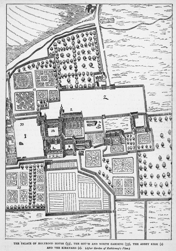 "Scanned image of plan showing layout of Holyrood Palace and environs before fire of 1650. Copied from Grant's ""Old and New Edinburgh"", page 69"