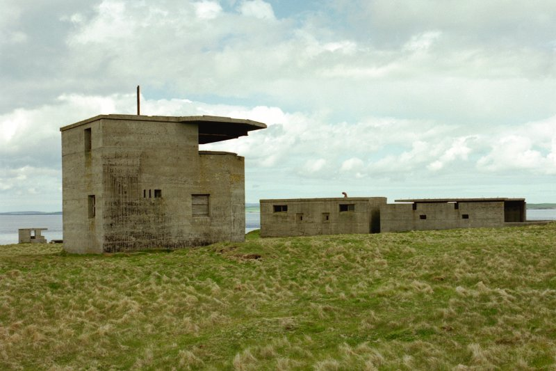 Battery observation post and No.1 gun emplacement with crew shelter, view from South.