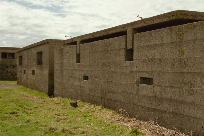 No.2 Gun emplacement and crew shelter, view from North East.