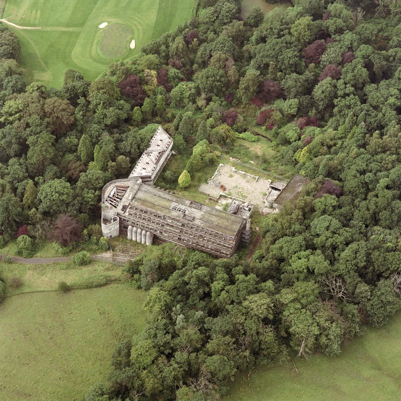 Scanned image of Cardross, oblique aerial view, taken from the E, of St Peter's College.