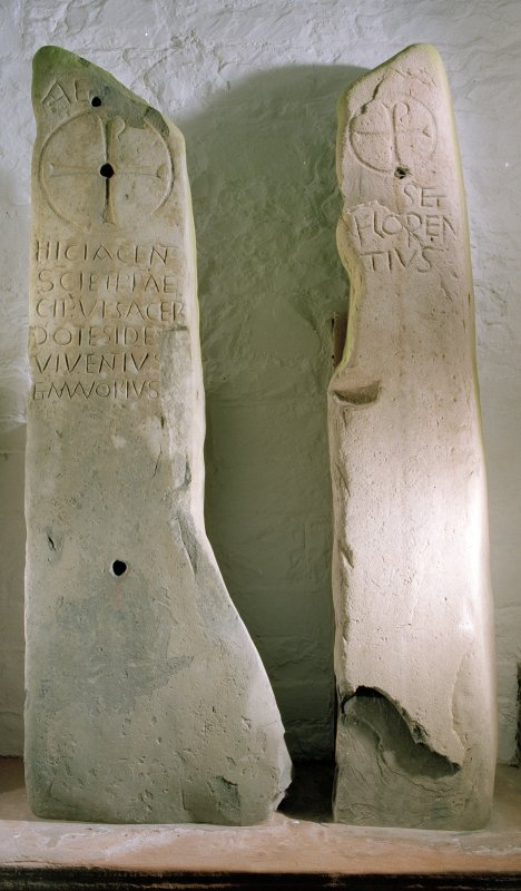 Sculptured stone no.1, bearing Chi-Rho and inscription commemorating the priests Ides, Viventius and Mavorius.