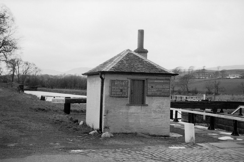 View from ESE showing E and S fronts of bothy with lock on right