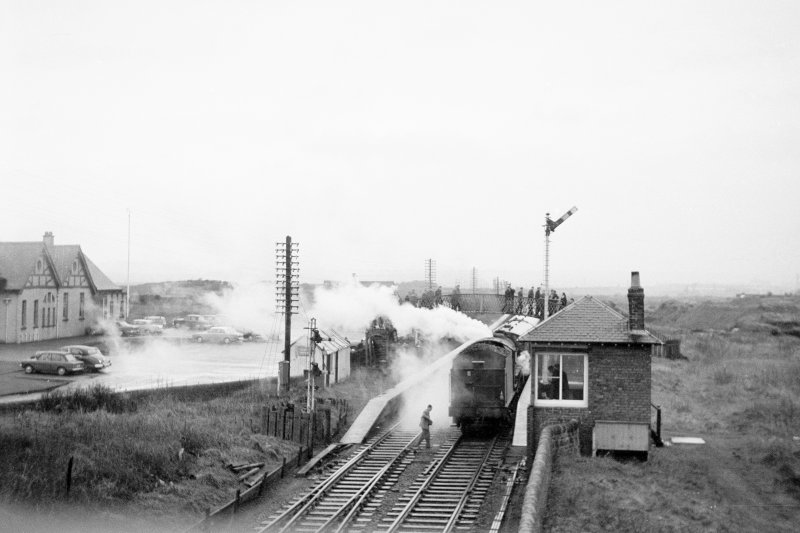 View from SE showing SSE front of signal box with locomotive in background