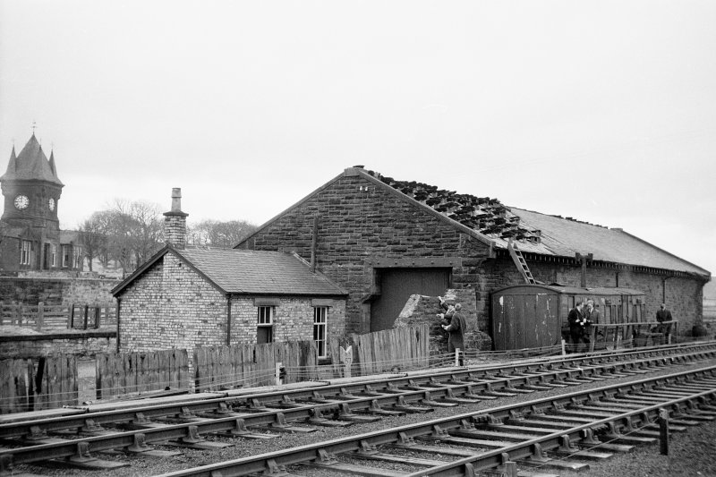 View from NE showing ENE front and part of NNW front of goods shed