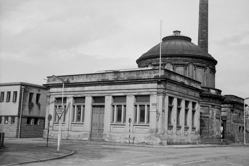 View from SSE showing SSW and ESE fronts of engine house with original circular building in background
