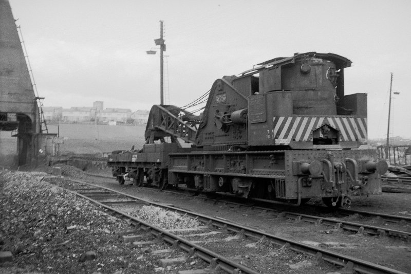 View showing breakdown crane (ex Caledonian Railway) at Eastfield Motive Power Depot
