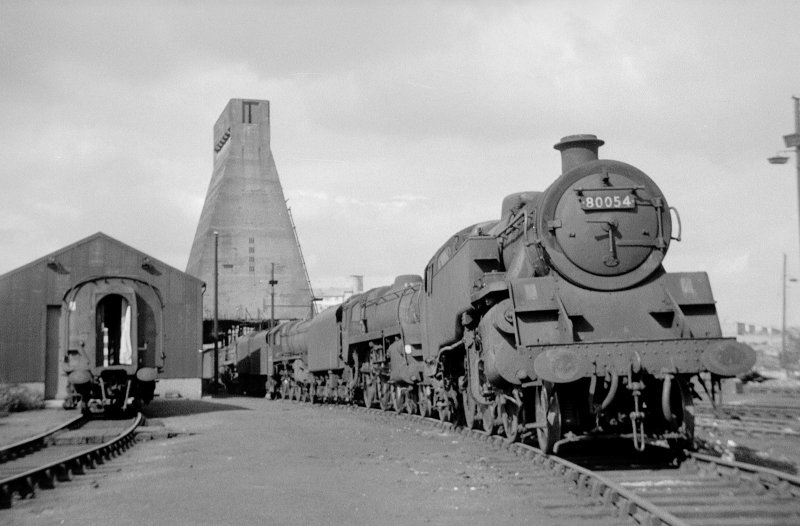 View from SSW showing locomotives at Eastfield Motive Power Depot with coaling tower in background