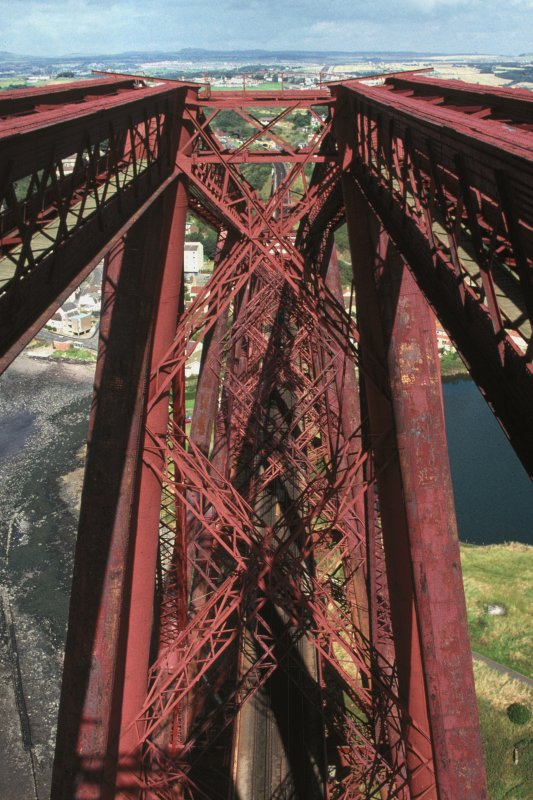 Forth Bridge:  View looking north from the top of the Fife Cantilever, with Fife in the background