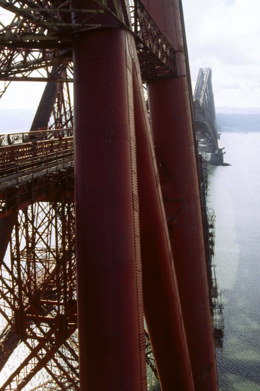 Forth Bridge:  View from west side of Fife Cantilever inside elevator cage, being taken to the top of the bridge (portrait view)