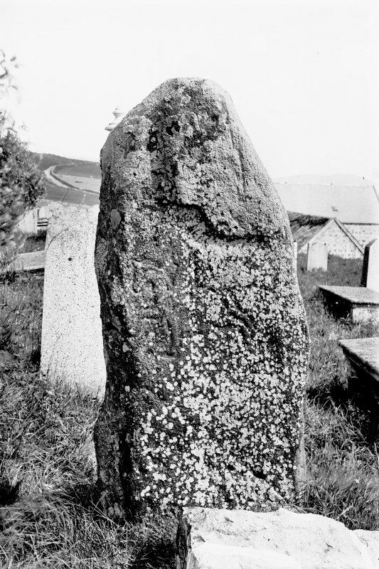 View of reverse of Pictish symbol stone.  Original negative captioned: 'Migvie Sculptured Stone, (Back) Aug 1903'.