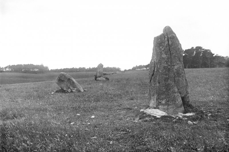 General view from the east. Original negative captioned: 'Wester Echt. Remains of Circle, 3 stones, viewed from East side. July 1902'.