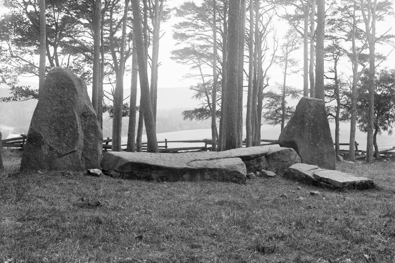 View of recumbent stone and flankers.  Negative captioned 'Sunhoney Circle near Echt Cup Marked Recumbent Stone, and Pillars viewed from inside of Circle, looking South. July 1902.'.