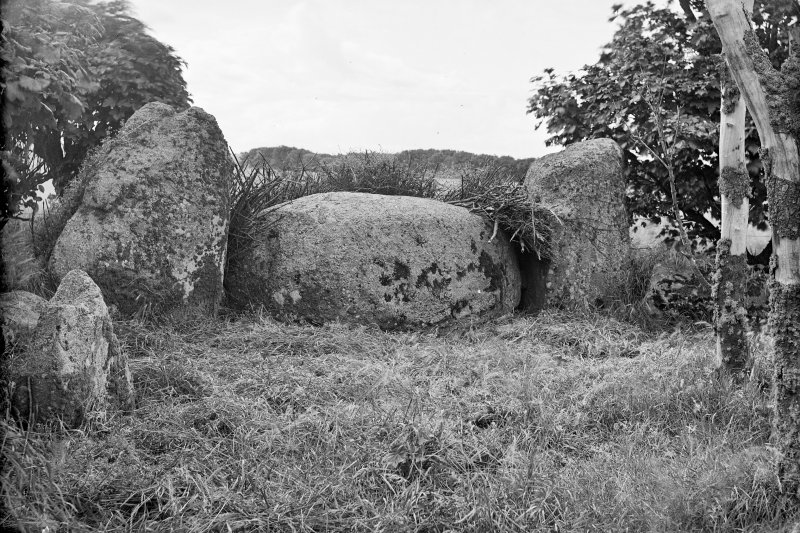 View of recumbent stone and flankers. Original negative captioned: 'Netherton of Logie Circle near Lonmay from inside circle 1908'.