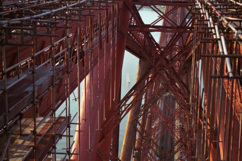 Forth Bridge: View looking north through the steelwork of the south cantilever