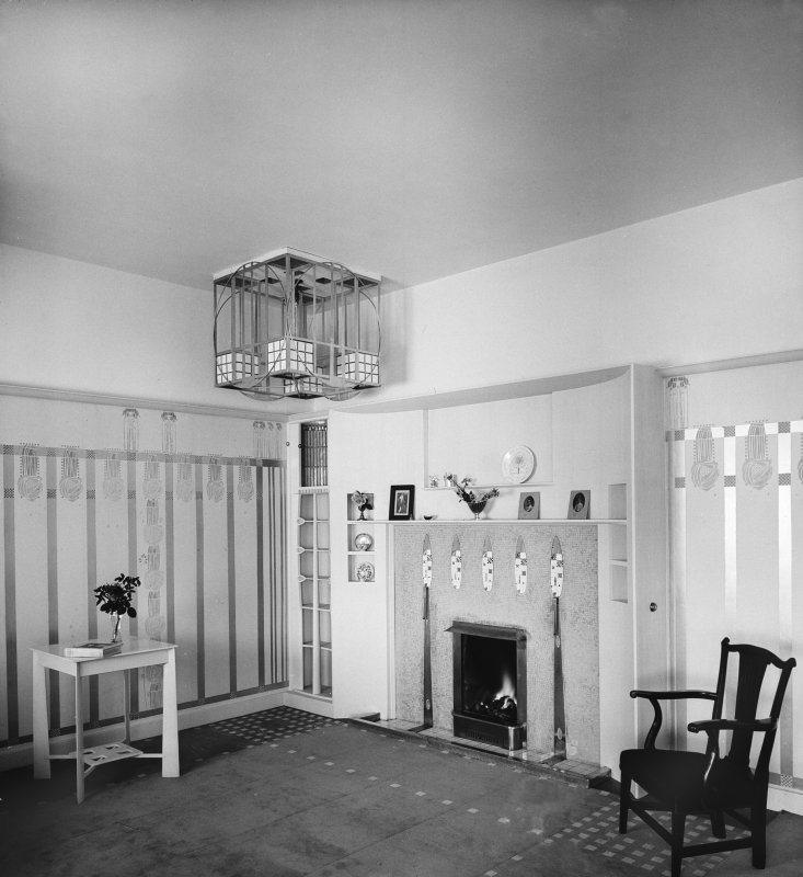 Hill House. general view of fireplace in Drawing Room