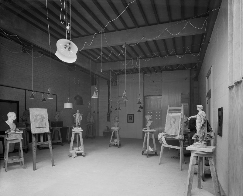 Glasgow School of Art, interior View of Antique School Room with sculptures and drawings on stands and easels