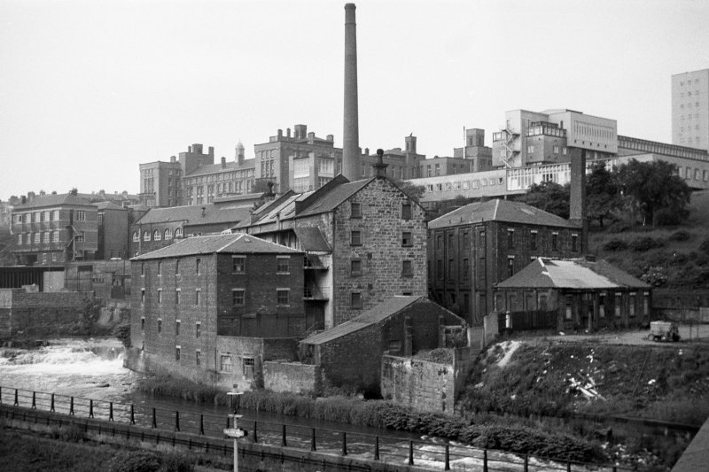 View from NW showing NNE and WNW fronts of mill with tool works on right