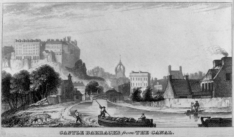 Edinburgh, Union Canal.  Digital image of an engraved view of Castle Barracks from the canal. Illustration from around the edge of an 1827 plan.