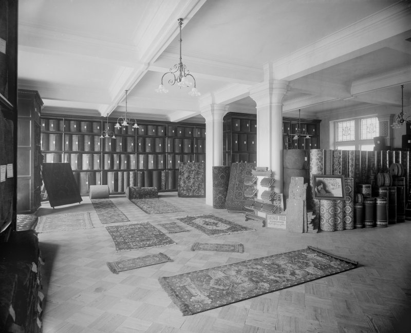 Interior, view of carpet department.