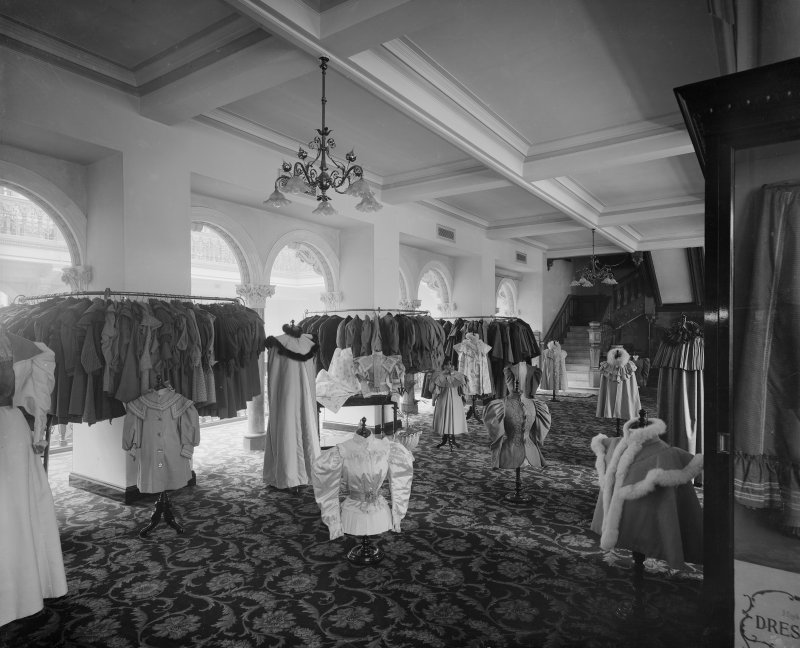 Interior, view of women's fashion department.