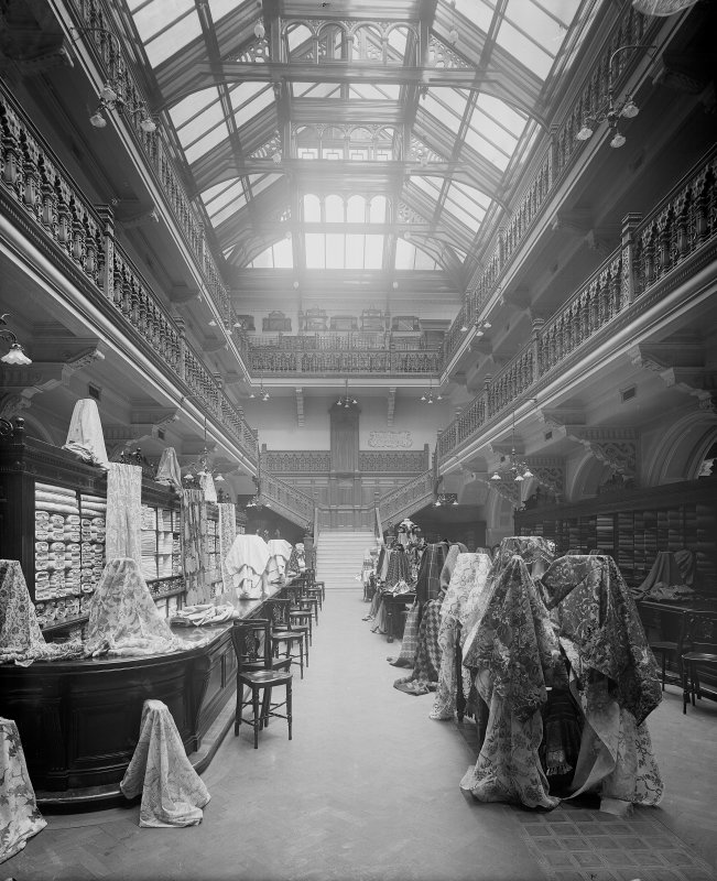 View of the fabrics department in Jenner's Department Store, Princes Street, Edinburgh.