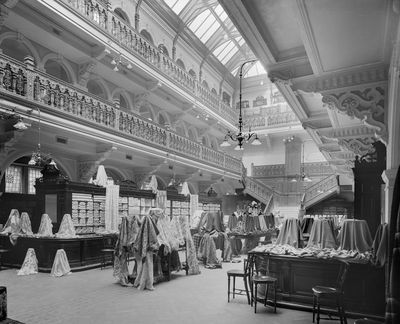 View of the fabrics hall in Jenner's Department Store, Princes Street, Edinburgh.
