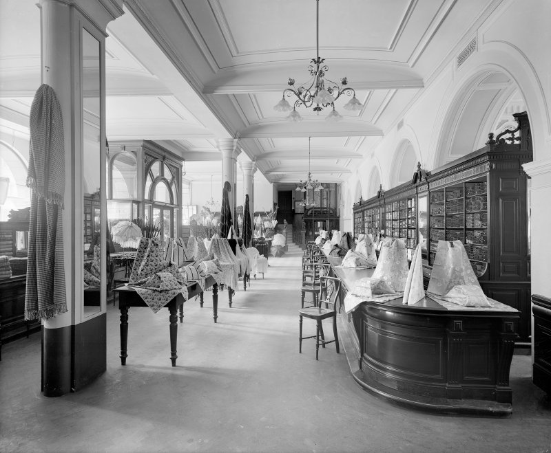 Interior, view of fabrics department.