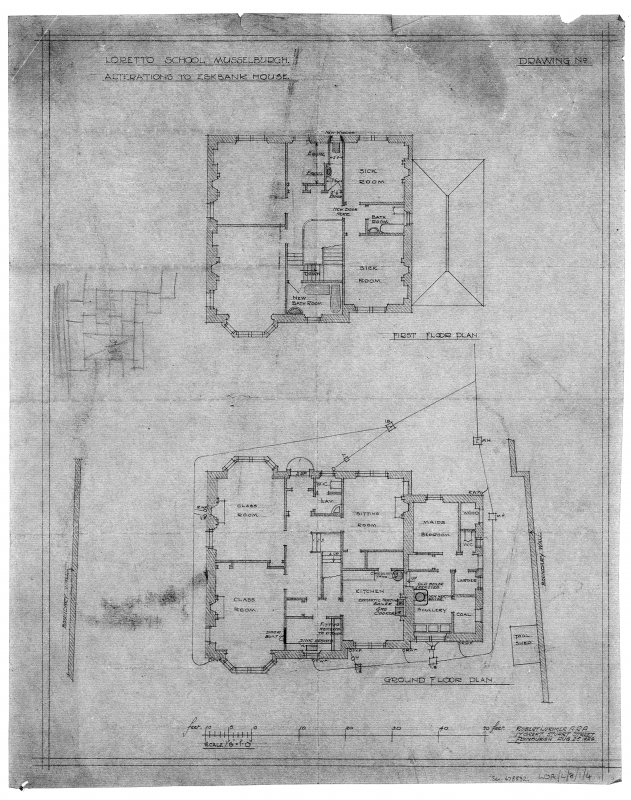 Ground and first floor plans showing alterations.