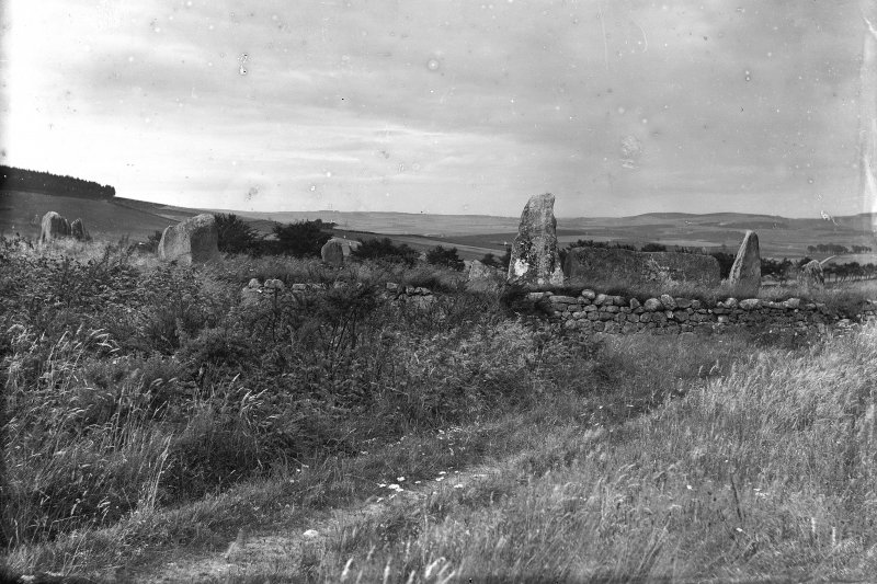 General view from approximately the south west. Original negative captioned 'Ancient stone circle at Aquhorthies /Stone Circle at Aquhorthies'.