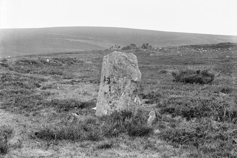View of standing stone Print card captioned: 'View of only standing stone in place, small tumuli near it.' Original negative captioned: 'Stone Circle called Auld Kirk of Trough showing Standing Stone and rampart 1904.'