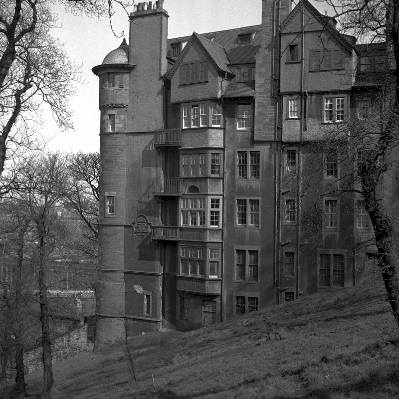 View of Ramsay Gardens from Princes Street Gardens below the Edinburgh Castle Esplanade NMRS Survey of Private Collections Digital Image Only