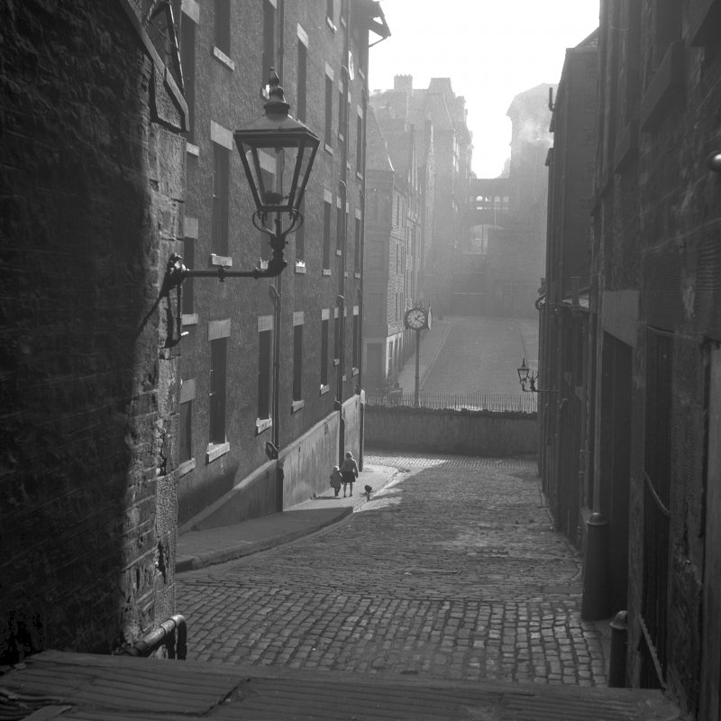 View of Borthwick's Close with Guthrie Street, John Farmer Brown Memorial clock and Royal Scottish Museum in the background NMRS Survey of Private Collections Digital Image only