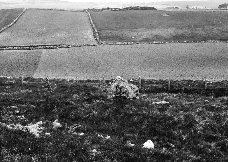 General view of circle and henge. Glass half-plate negative, captioned: 'Stone Circle on (deleted and altered to) View from Hill of Tuack, Kintore looking south 1903'.