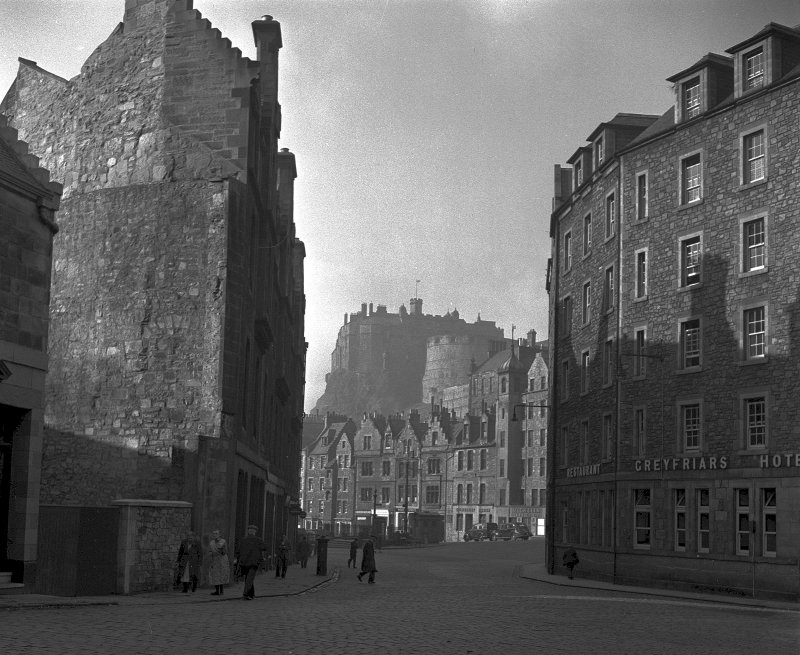View of the Grassmarket, Edinburgh from Candlemaker Row looking towards the Castle NMRS Survey of Private Collection Digital Image only