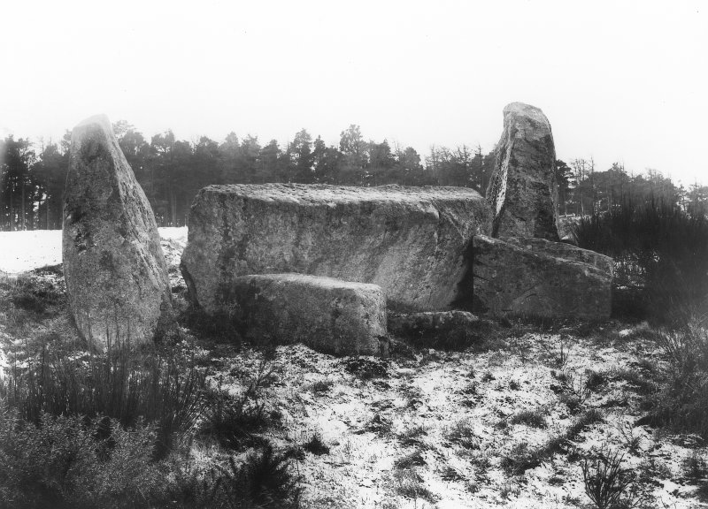 View of recumbent stone and flankers. Original negative captioned: 'Stone Circle at Auchquhorthies, Inverurie. Recumbent Stone from N.E. inside circle / Dec 1902'.