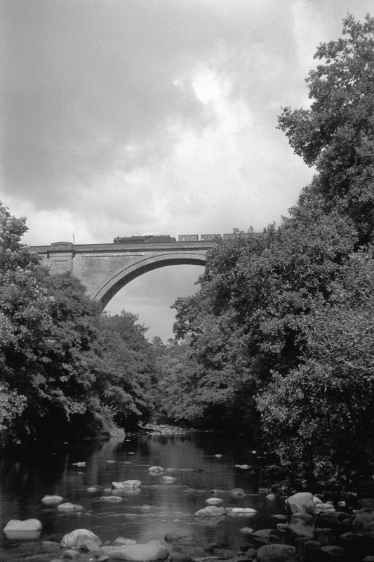 View showing train crossing viaduct