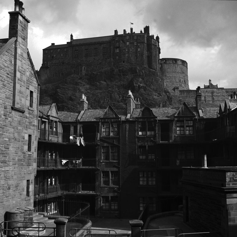 View of Portsburgh Square, Edinburgh with Castle above