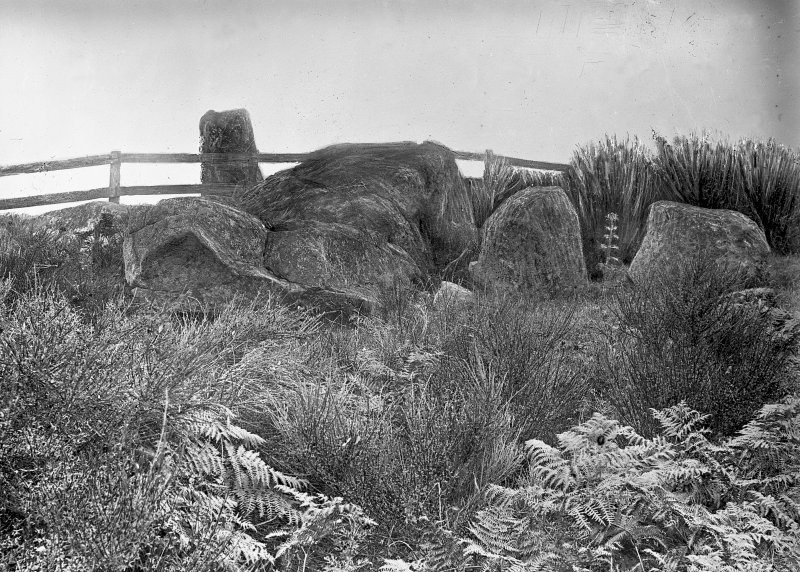 View of circle from the south-east. Original negatives captioned: 'Stone Circle on Tom-na-hivrigh (Tomnaverie) near Tarland 1904', and 'Stone Circle on Tom-na-hivrigh (Tomnaverie) west of Wester Coull / View from South East showing Recumbent Stone and fallen pillars July 1904'.