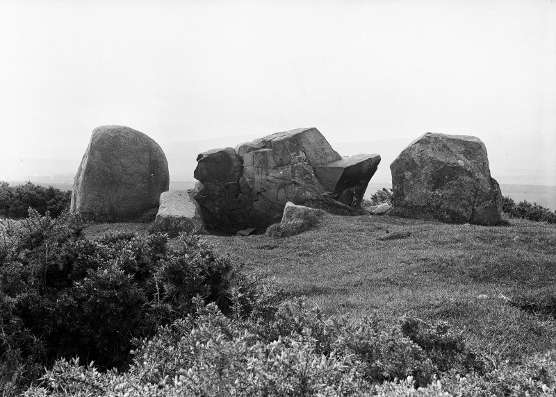 View of recumbent stone and flankers. Original negative captioned: 'Ardlair Stone Circle, Kennethmont Recumbent Stone and Pillars from inside of Circle / View from inside of Circle May 1906'.